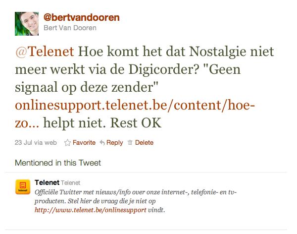 """@Telenet Hoe komt het dat Nostalgie niet meer werkt via de Digicorder? """"Geen signaal op deze zender"""" http://t.co/YkZXE1W helpt niet. Rest OK"""