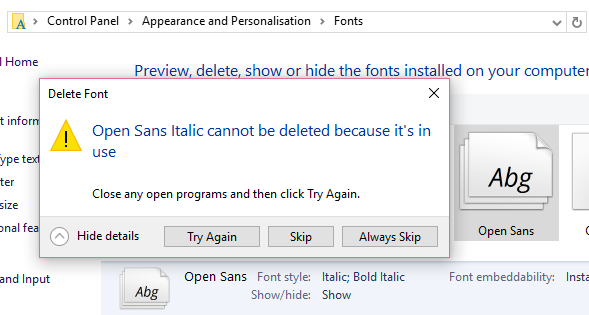 Font can't be deleted because it's in use